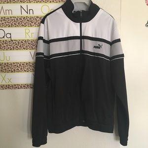 Puma XL trackjacket zip up black white long sleeve